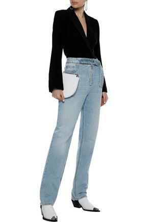 HELMUT LANG Belt-detailed faded high-rise straight-leg jeans