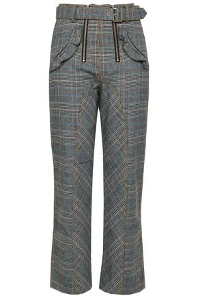 SELF-PORTRAIT Belted checked tweed straight-leg pants
