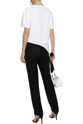 HELMUT LANG Silk and Tencel-blend twill tapered pants