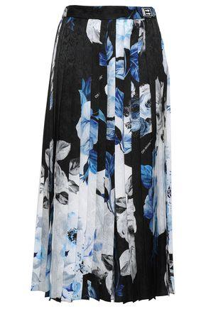 OFF-WHITE™ Printed silk-satin jacquard culottes