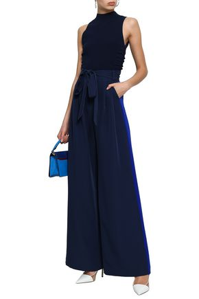 MILLY Belted cady wide-leg pants