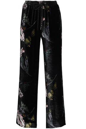 MARKUS LUPFER Floral-print velvet wide-leg pants