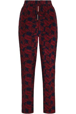 DIANE VON FURSTENBERG Printed silk crepe de chine tapered pants