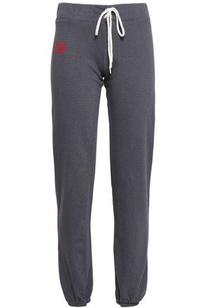 MONROW Printed pinstriped French cotton-blend terry track pants