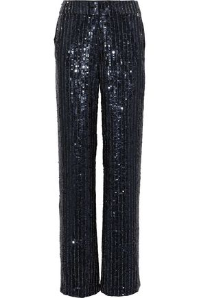 ALICE + OLIVIA Racquel embellished satin wide-leg pants