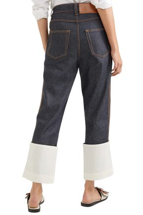 LOEWE Fisherman gauze-trimmed high-rise straight-leg jeans