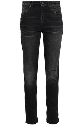 SAINT LAURENT Distressed faded high-rise skinny jeans
