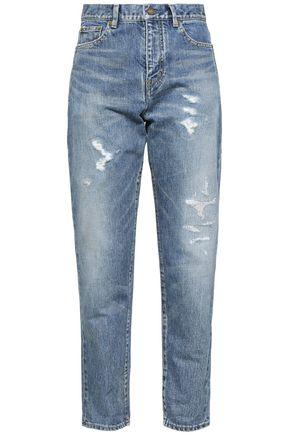 SAINT LAURENT Distressed high-rise boyfriend jeans