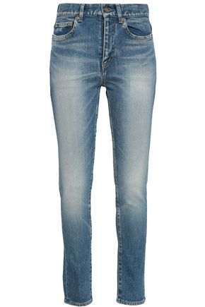 SAINT LAURENT Faded high-rise skinny jeans