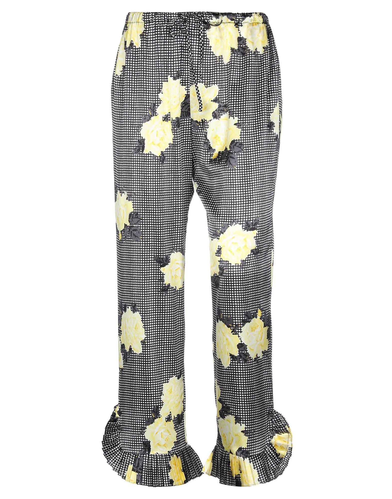 GANNI Casual pants. satin, no appliqués, floral design, high waisted, comfort fit, straight leg, drawstring closure, no pockets, stretch. 92% Silk, 8% Elastane