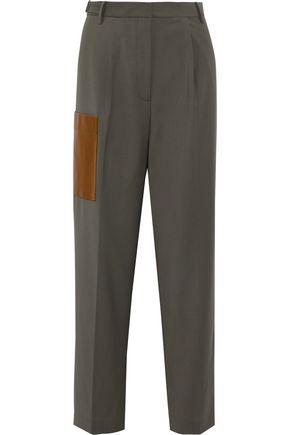 TIBI Tablier faux leather-appliquéd woven straight-leg pants