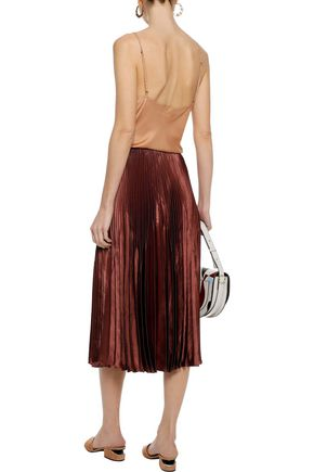 VINCE. Pleated satin midi skirt