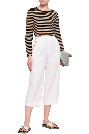 DKNY Cropped button-embellished crepe pants