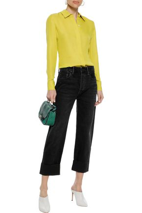 VINCE. Cropped high-rise straight-leg jeans