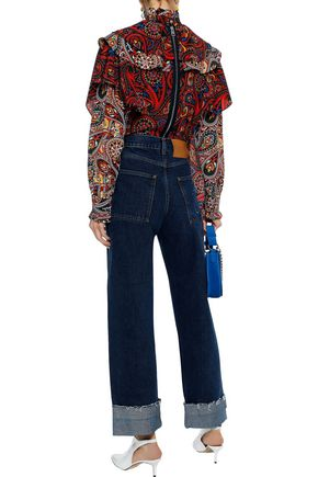 J.W.ANDERSON Braid-trimmed high-rise straight-leg jeans