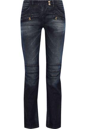 BALMAIN Faded mid-rise straight-leg jeans