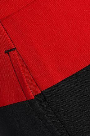 BOTTEGA VENETA Two-tone wool-twill straight-leg pants