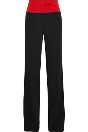 BOTTEGA VENETA Two-tone wool-twill straight-leg pants
