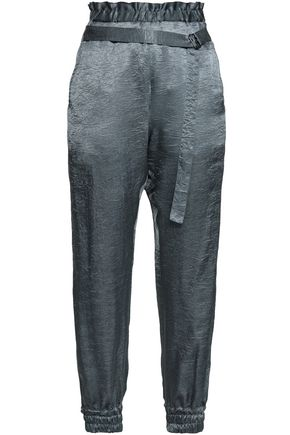 ANN DEMEULEMEESTER Crushed satin track pants