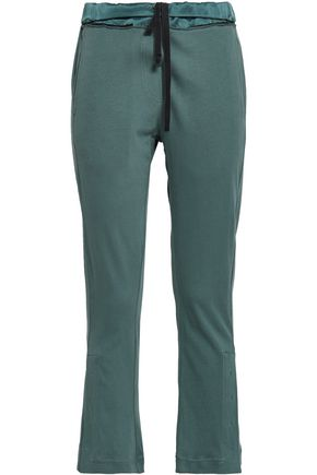 ANN DEMEULEMEESTER Satin-trimmed cotton-jersey kick-flare pants
