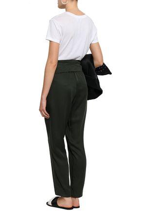 DKNY Jersey-paneled twill tapered pants