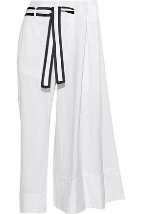 THOM BROWNE Cropped pleated cotton-seersucker wide-leg pants