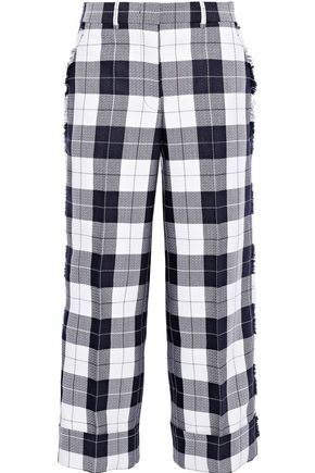 THOM BROWNE Cropped checked wool-blend crepe wide-leg pants