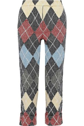 THOM BROWNE Cropped checked wool-tweed straight-leg pants