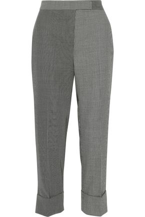 THOM BROWNE Paneled printed cotton and wool-blend straight-leg pants
