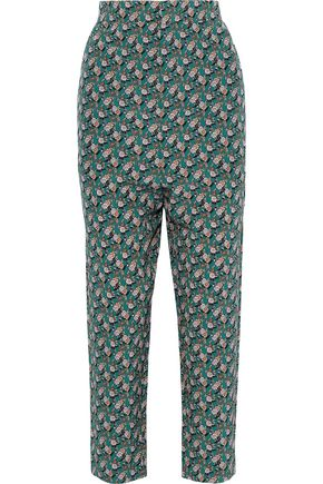 MARNI Cropped floral-print silk tapered pants