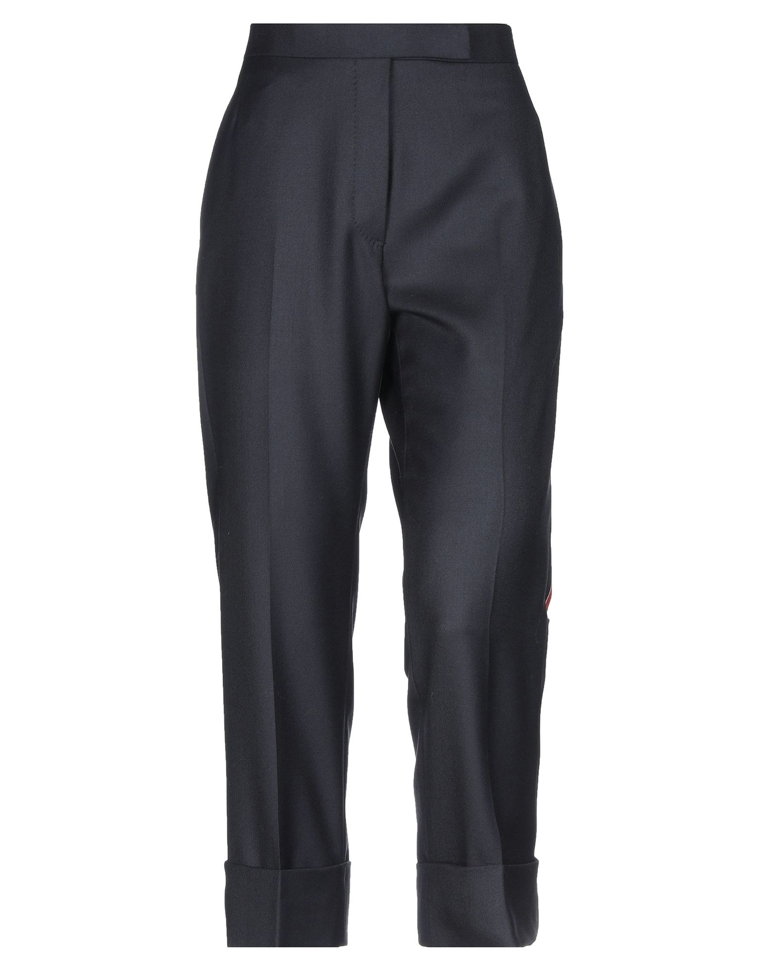 THOM BROWNE Casual pants. flannel, side seam stripes, basic solid color, mid rise, regular fit, tapered leg, hook-and-bar, button fly closure, multipockets, cuffed hems. 100% Wool