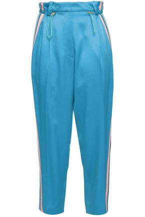 PETER PILOTTO Cropped striped satin-crepe track pants
