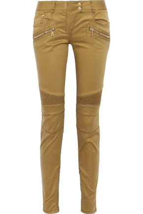 BALMAIN Ribbed-paneled sateen skinny pants