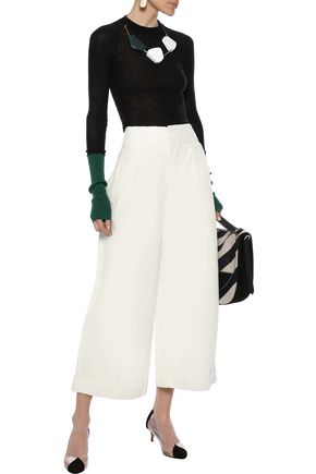 MARNI Pleated linen-blend twill culottes