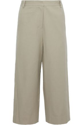 TIBI Margaux cropped cotton-twill wide-leg pants