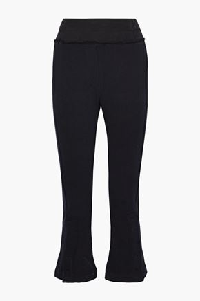 ANN DEMEULEMEESTER Twill-trimmed French cotton-terry kick-flare pants