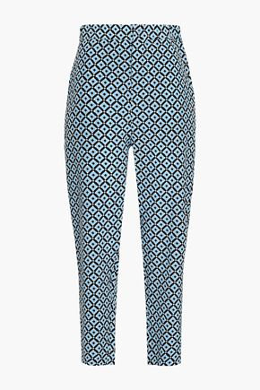 MARNI Cropped printed silk crepe de chine tapered pants