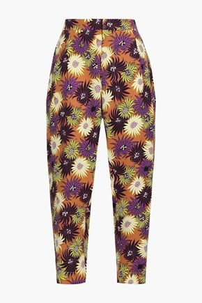 MARNI Cropped floral-print silk crepe de chine tapered pants