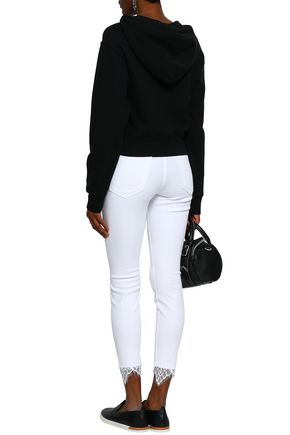 MOTHER Lace-trimmed high-rise skinny jeans