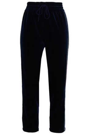 MOTHER Cropped striped velvet tapered pants