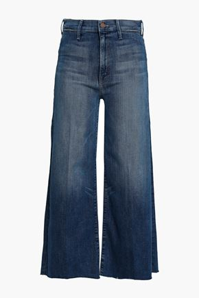 MOTHER Cropped faded high-rise wide-leg jeans