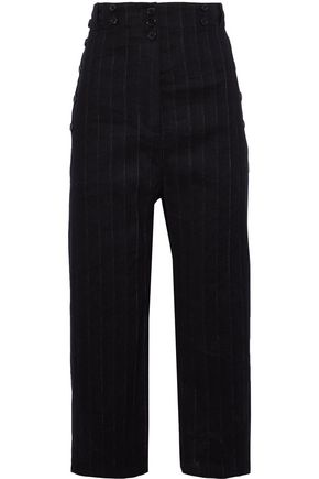 ANN DEMEULEMEESTER Cropped pinstriped linen-blend wide-leg pants