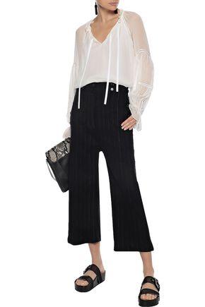ANN DEMEULEMEESTER Cropped pinstriped linen-blend wide-leg pants