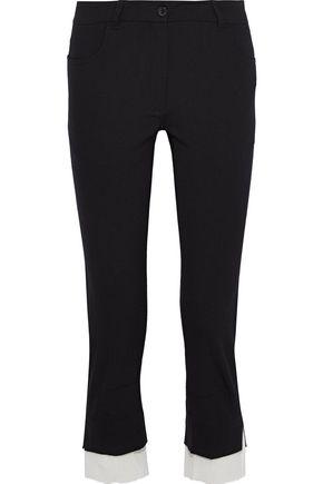 ANN DEMEULEMEESTER Boulevard gauze-trimmed wool-blend twill slim-leg pants