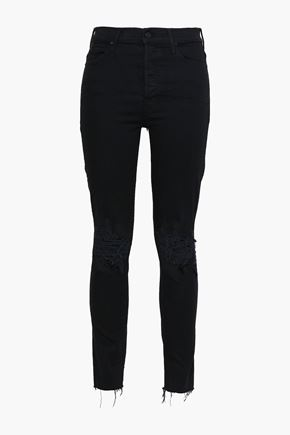 MOTHER Distressed high-rise skinny jeans