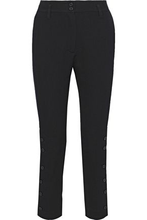 ANN DEMEULEMEESTER Button-detailed wool and cotton-blend twill slim-leg pants