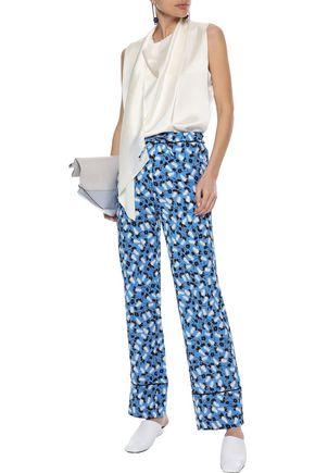 MARNI Printed crepe wide-leg pants