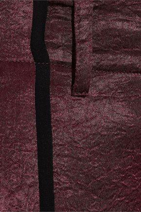 ANN DEMEULEMEESTER Lambeth georgette-trimmed crushed-satin straight-leg pants