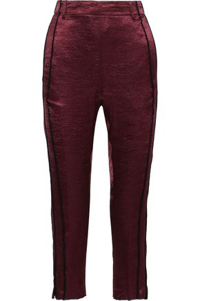 ANN DEMEULEMEESTER Lambeth georgette-trimmed crushed-satin straight-leg pants