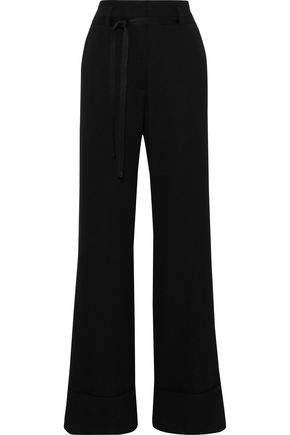 ANN DEMEULEMEESTER Satin-trimmed wool and cotton-blend twill wide-leg pants